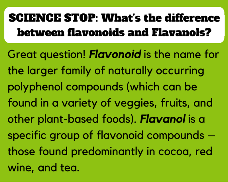 What's the difference between flavonoids and Flavanols? Great question! Flavonoid is the name for the larger family of naturally occurring polyphenol compounds (which can be found in a variety of veggies, fruits, and other plant-based foods). Flavanol is a specific group of flavonoid compounds – those found predominantly in cocoa, red wine, and tea.