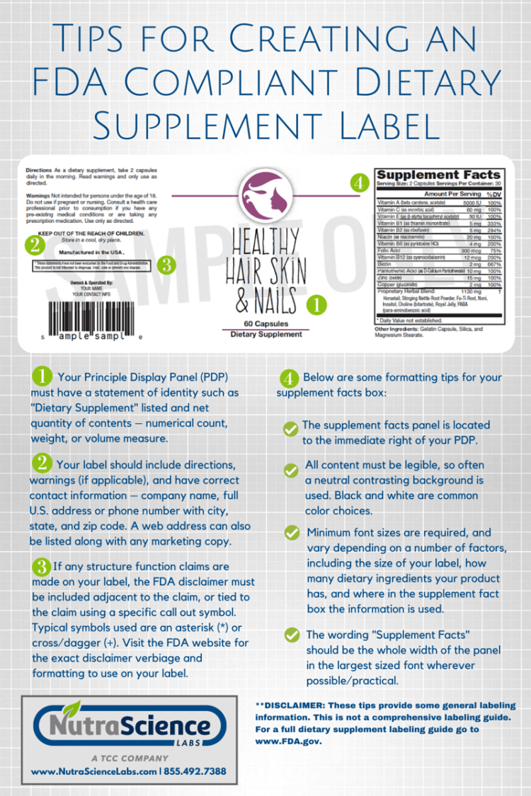 NSL Tips for Creating An FDA Compliant Dietary Supplement Label