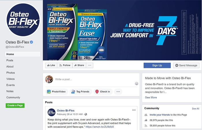 Osteo Bi-Flex Facebook Business Page