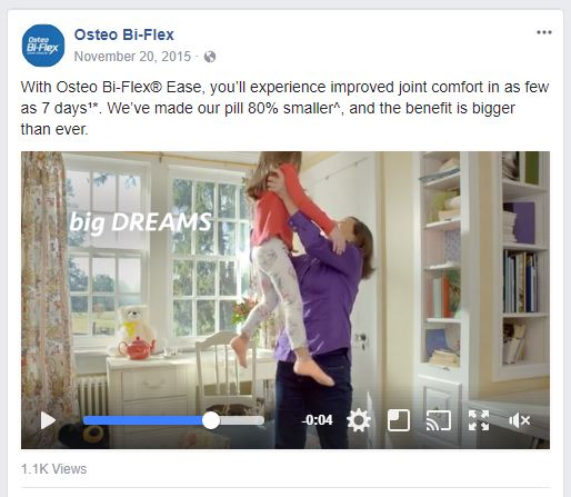 Osteo Bi-Flex Facebook Storytelling Example