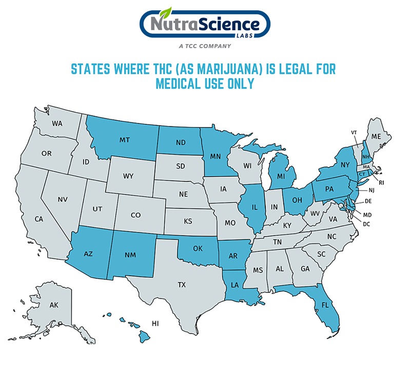 States Where THC is legal for medical use only