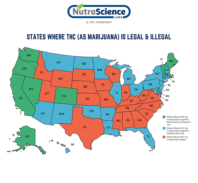 State Map Where THC (as marijuana) is legal and illegal