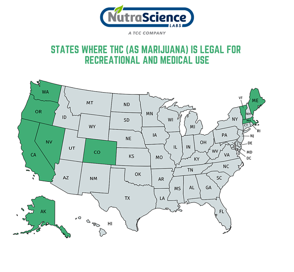 States where THC is legal for recreational and medical use